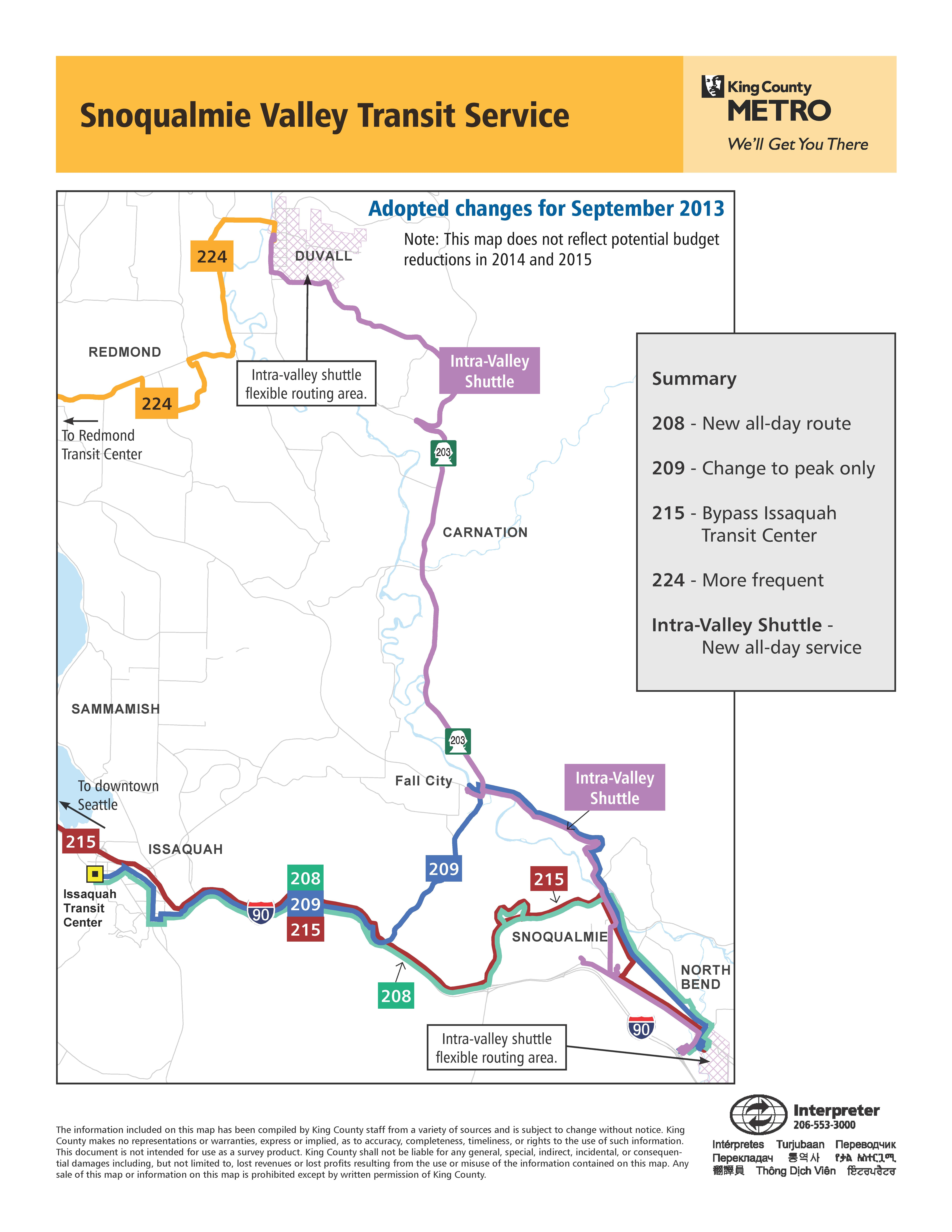 Changes Coming To Snoqualmie Valley Transit Service
